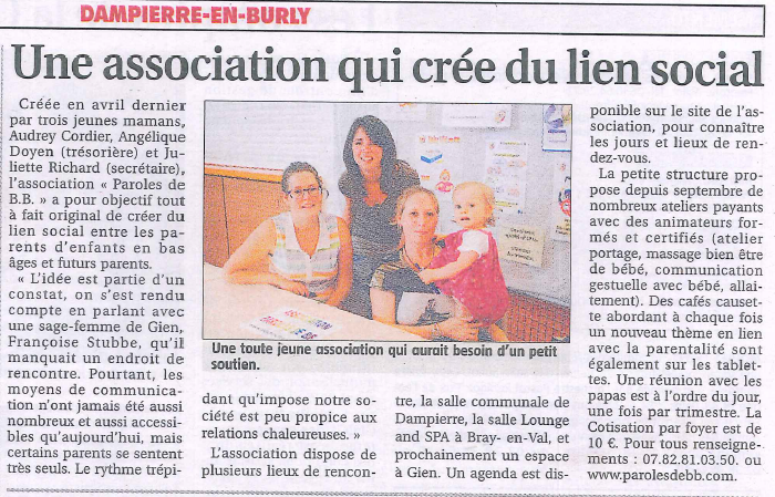 Article journal de gien octobre 2014